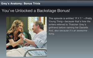 Grey's Anatomy Sync App Episode 2 Backstage Trivia
