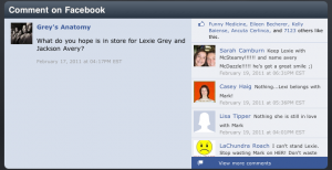 Greys Anatomy Sync App Episode 3 Facebook Comment