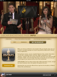 ABC Oscar Backstage Pass iPad Info Area