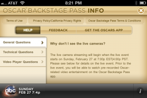 ABC Oscar Backstage Pass Fine Print