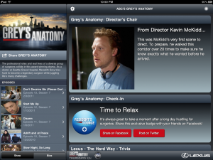 Grey's Anatomy iPad Sync App Horizontal Orientation