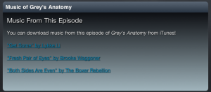 Greys Anatomy Show end music module