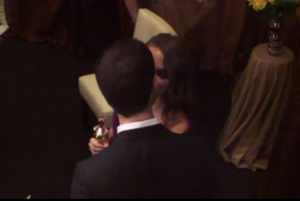 ABC Oscar Backstage Pass Natalie Portman and Benjamin Millepied kiss