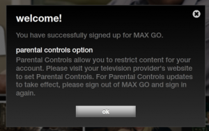 CINEMAX GO Parental Warning screen