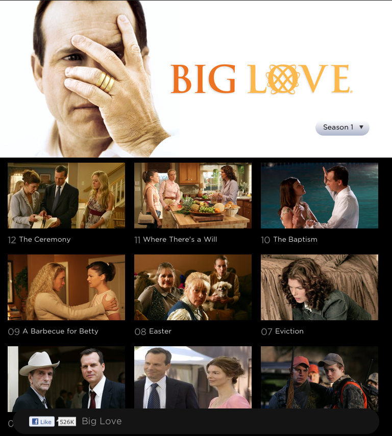 HBO GO iPad App Big Love Reverse Episode Order