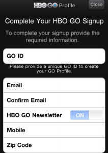 HBO GO iPhone App Profile Creation