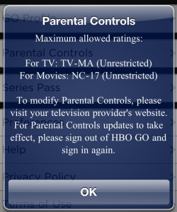HBO GO Parental Controls Information