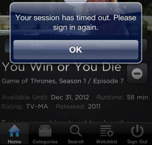 HBO GO Session Timed Out