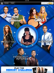 CBS Fall Premiere 2011 App Home Screen