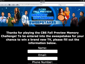 CBS Fall Premiere App Sweepstakes Form
