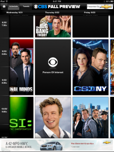 CBS Fall Preview App 2011 Schedule