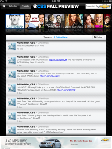 CBS Fall Preview App Twitter Feed